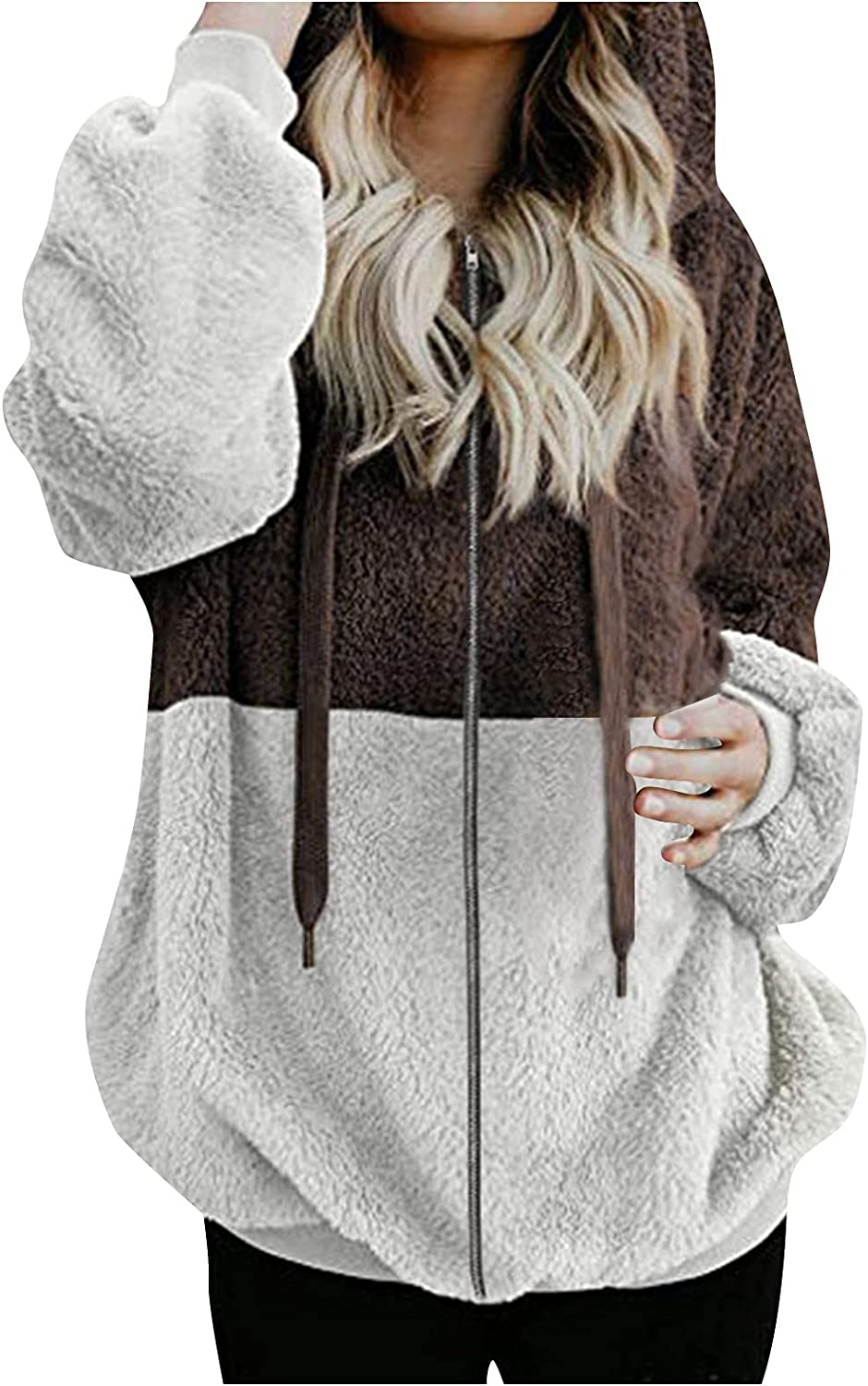 Bombasty Pullovers for Womens Button Down Hoodies Drawstring Color Block Hooded Pocket Casual Long Sleeve V Neck Sweatshirts