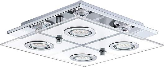 EGLO Cabo Led-plafondlamp, 4 spots, van roestvrij staal en gesatineerd glas, woonkamerlamp in chroom, wit, helder, keukenl...