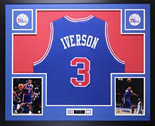 Allen Iverson Autographed Blue Philadelphia 76ers Jersey - Beautifully Matted and Framed - Hand Signed By Allen Iverson and Certified by JSA - Includes Certificate of Authenticity
