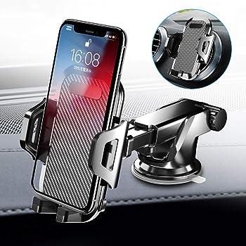 車載ホルダー Auckly スマホスタンド スマホ ホルダー 2in1強力ゲル吸盤式&エアコン出し口式兼用 オートホールド式 伸縮アーム 取り付け簡単/360度回転可能/片手操作/多機種対応/iPhone 11 Pro Max XS Max/Xs/Xr/X/8/7/6 Plus Samsung Galaxy S10/S10+/S9/S8/S7/Sony/LG/Huawei