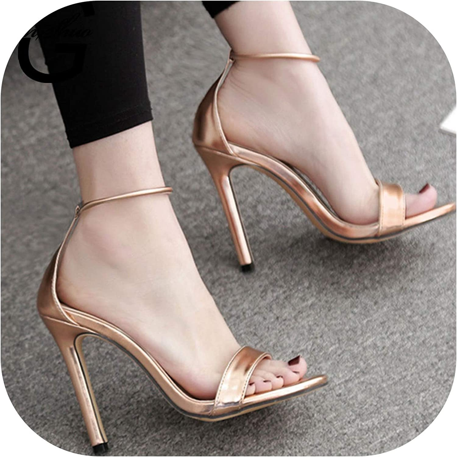 Alerghrg Open Toe Pumps Ladies shoes Thin High Heels Ankle Strap Footwear shoes