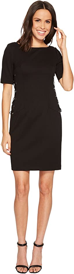 Adrianna Papell - Micro Ottoman Sheath Dress with Lace-Up Detail and Elbow Sleeve