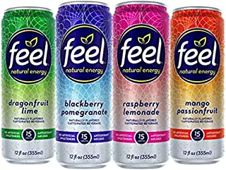 FEEL Natural Energy Drink, Low Calorie, Vegan, Gluten Free, Non-GMO, Healthy Energy Drink for Energy & Focus, Variety Pack, 12 Fl Oz Cans (Pack of 12)