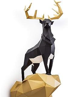 ORIGADREAM, kit de ciervo real pre-cortado NUEVO PUZZLE 3D MODERNO venado montar por uno mismo para la decoración de la pa...
