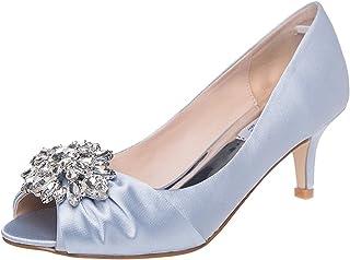 SheSole Womens Low Heel Dress Pumps Rhinestone Peep Toe...