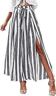 SweatyRocks Women's Striped High Waisted Lounge Wide Leg Palazzo Pants Capris