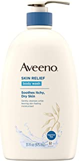 Aveeno Skin Relief Fragrance-Free Body Wash with Oat to Soothe Dry Itchy Skin, Gentle, Soap-Free & Dye-Free for Sensitive Skin, 33 fl. oz (117853)