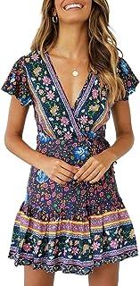 ZESICA Women's Summer Wrap V Neck Bohemian Floral Print...