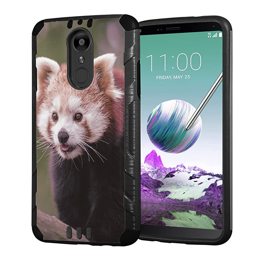 Moriko Case Compatible with LG Stylo 4 Plus, LG Stylo 4, LG Q Stylus [Armor Layer Drop Protection Slim Fashion Shockproof Black Case] for LG Stylo 4 - (Red Panda)