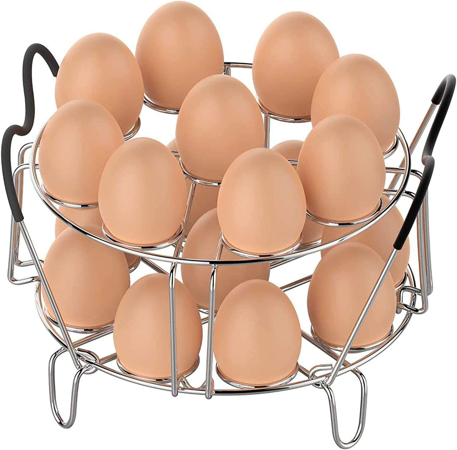 Egg Steamer Rack with Heat Resistant Silicone Handles Instant Pot, Stainless Steel Kitchen Trivet Compatible for Ninja Foodi Pressure Cooker Acessories 6.5 Qt & 8 Qt, 18 Egg Cooking Rack,Stackable,