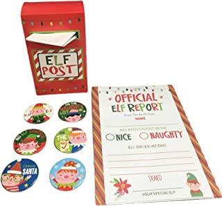 Official Elf Reports North Pole - Behavior Naughty or Nice Fill in Note Cards Post Box Mailbox and Elf Badges Santa Survei...
