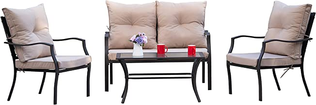 Kullavik 4-Piece Patio Furniture Set Outdoor Conversation Set Steel Frame Sectional Chat Sofa with 4 Seats, 4 Cushions & 1...