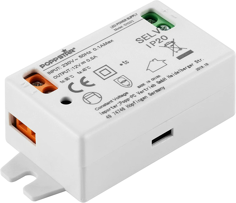 Poppstar Transformador LED 230V AC / 12 V DC 0,5 A para bombillas LED hasta 6W