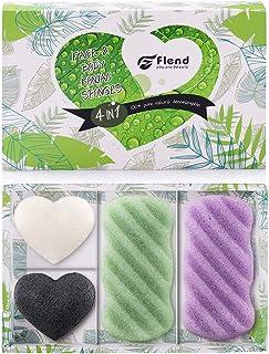 Facial Konjac Sponges 100% Natural Facial & Body Sponge Set for Sensitive Skin, 4 Pack, Bamboo Charcoal/Green Tea/Lavender Essence Face Cleansing Exfoliation (2 Body+2 Facial) (4 pack)