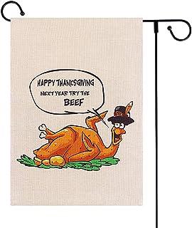 WaaHome مضحك عيد الشكر حديقة العلم 12x18 مزدوج الجانب علم ساحة الديك الرومي لعيد الشكر الخريف ديكورات خارجية
