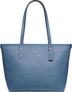 WOMENS CITY ZIP TOTE DENIM/SILVER