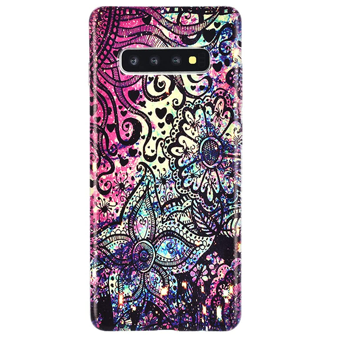 For Galaxy S10 Flexible Cover, Transparent TPU Skin Antiskid Anti-Scratch Protective Phone Case Phone Cover Colorful Painting Compatible with Samsung Galaxy S10, Style-04