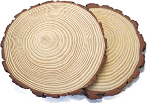 Large Natural Basswood Slices Round Oval 10-11 inch 2pcs Rustic Slabs Unfinished Wood Sanded Ellipse for Craft Wood Pieces,Wood centerpieces for Tables,Rustic Table Decor,Wood slabs