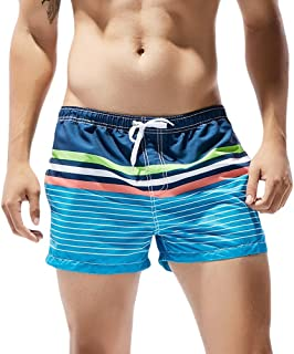 Vickyleb Swim Trunks Men's Breathable Beach Board Shorts with Pockets Printed Striped Boardshorts Slim Wear for Boys