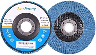 80 Grit Flap Discs, 4.5 Inch Sanding Grinding Wheels, 10PCS, Zirconia Alumina Abrasive, by LotFancy