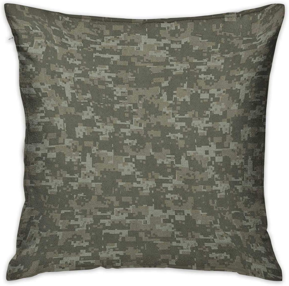 Funda de almohada personalizada cuadrada de camuflaje Patrón de vestimenta monocromática que oculta Escondite en el bosque Estampado temático Verde militar Fundas de cojín Verde salvia Fundas de almoh