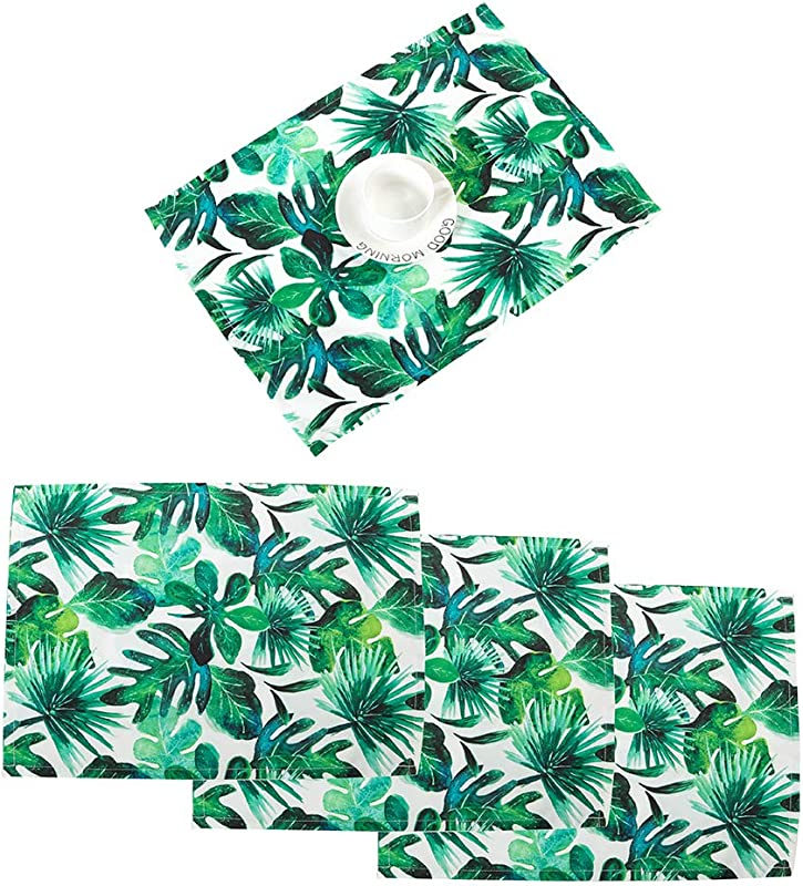 Nobildonna 18 X13 Tropical Leaves Placemats Elegance Dining Table Cover Easy Care Polyester Print Quality Durable Place Mats For Holiday Spring Summer Dinner Party And For Everyday Use Set Of 4