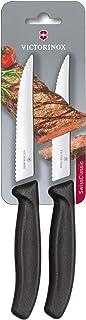 Victorinox Swiss Classic 2er Set Steakmesser Gourmet mit Wellenschliff, 12 cm, Klingenschutz, Spülmaschinengeeignet, schwarz