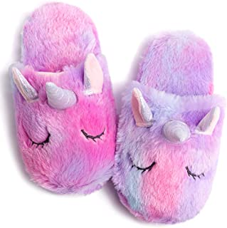 Rainbow Unicorn Slippers/Cute Fluffy Girls Slippers/Cozy Plush Indoor Outdoor Women Slippers/Best Unicorn Gifts