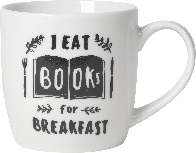 Now Designs Porcelain Mugs, Set of Six, Books For Breakfast