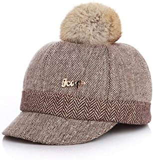 Warm Children Winter Baseball Cap 100% Real Rabbit Hair Ball Sports Golf Hat Kid Winter Pompon Equestrian Cap for Girl Boy