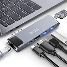 Thunderbolt 3 hub, EKSA 7 in 1 Dual USB C Hub for MacBook Pro 2016/2017/2018 13