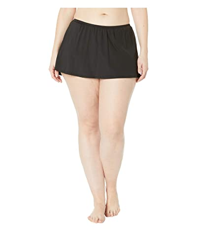 24th & Ocean Plus Size Solids Mid Waist Skirted Pant Bottoms (Black) Women