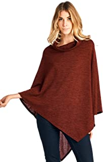 12 Ami Cowlneck Knit Point Hem Poncho Topper - Made in USA