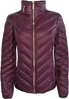Michael Michael Kors Women's Burgundy Down Packable Coat Hidden Hood