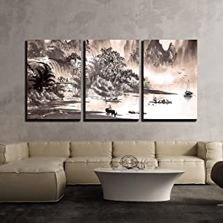 wall26 - 3 Piece Canvas Wall Art - Chinese Landscape Watercolor Painting - Modern Home Decor Stretched and Framed Ready to Hang - 16