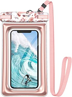 """SURITCH Universal Waterproof Phone Pouch Floating, IPX8 Waterproof Phone Case for iPhone 11 Pro Max XS Max XR X 8 7 Plus 6s Galaxy S10 S10e S9 S20 Ultra Note 9/10 Google Pixel Up to 6.9""""-Rose Marble"""