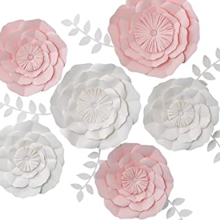 KEY SPRING 3D Paper Flower Decorations, Giant Paper Flowers, Large Handcrafted Paper Flowers (Pink, White, Set of 6) for Wedding Backdrop, Bridal Shower, Wedding Centerpieces, Nursery Wall Decor