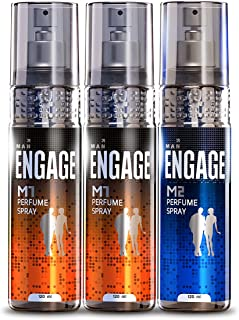 Engage Combo Pack Perfume Spray for Men (M1 and M2), Skin Friendly, (Pack of 3; 120ml Each), 360ml