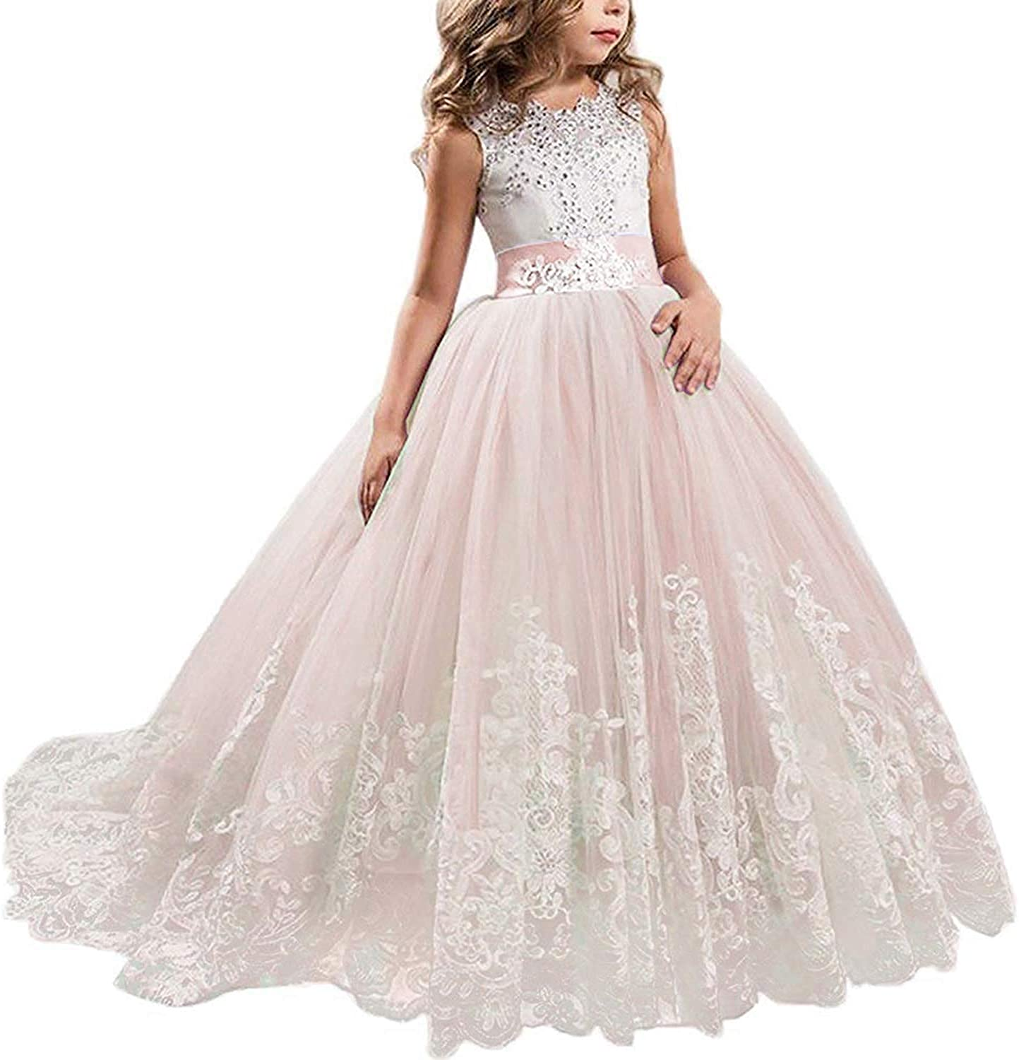TTYAOVO Girls Embroidery Princess Dress Wedding Birthday Party Long Tail Prom Gowns