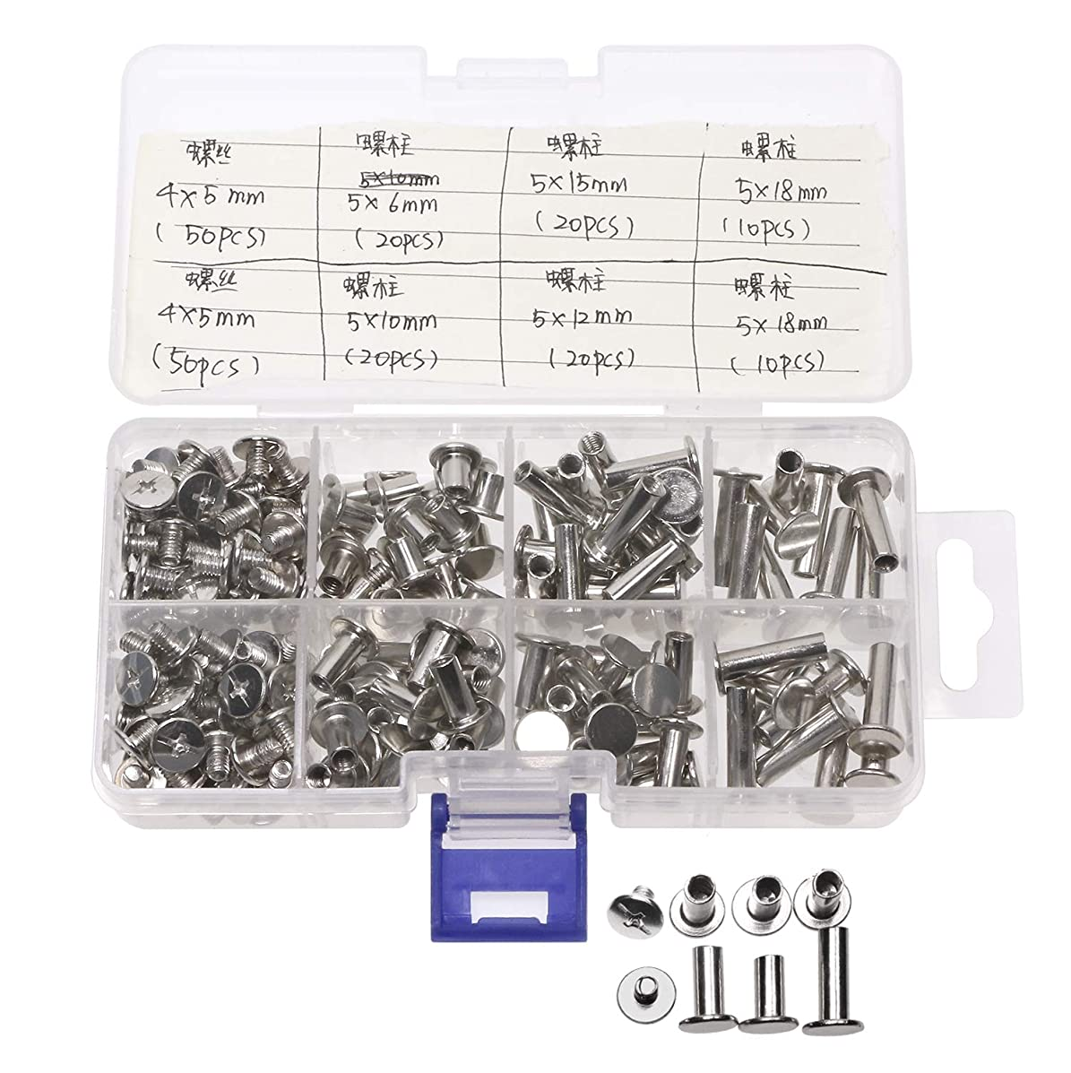 Mini Skater 100 Set Binding Screws 5 Size Metal Round Flat Cross Head Leather Screw Nail Rivet Button Solid Belt Tack Screw Assortment Kit For Scrapbook Photo Albums Bookbinding DIY Leather Decoration
