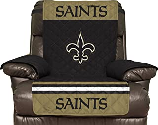 NFL New Orleans Saints Recliner Reversible Furniture Protector with Elastic Straps, 80-inches by 65-inches