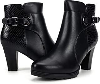 Women's Zipper Bootie Chunky Stacked Heel Ankle Boots Buckle Strap Ankle