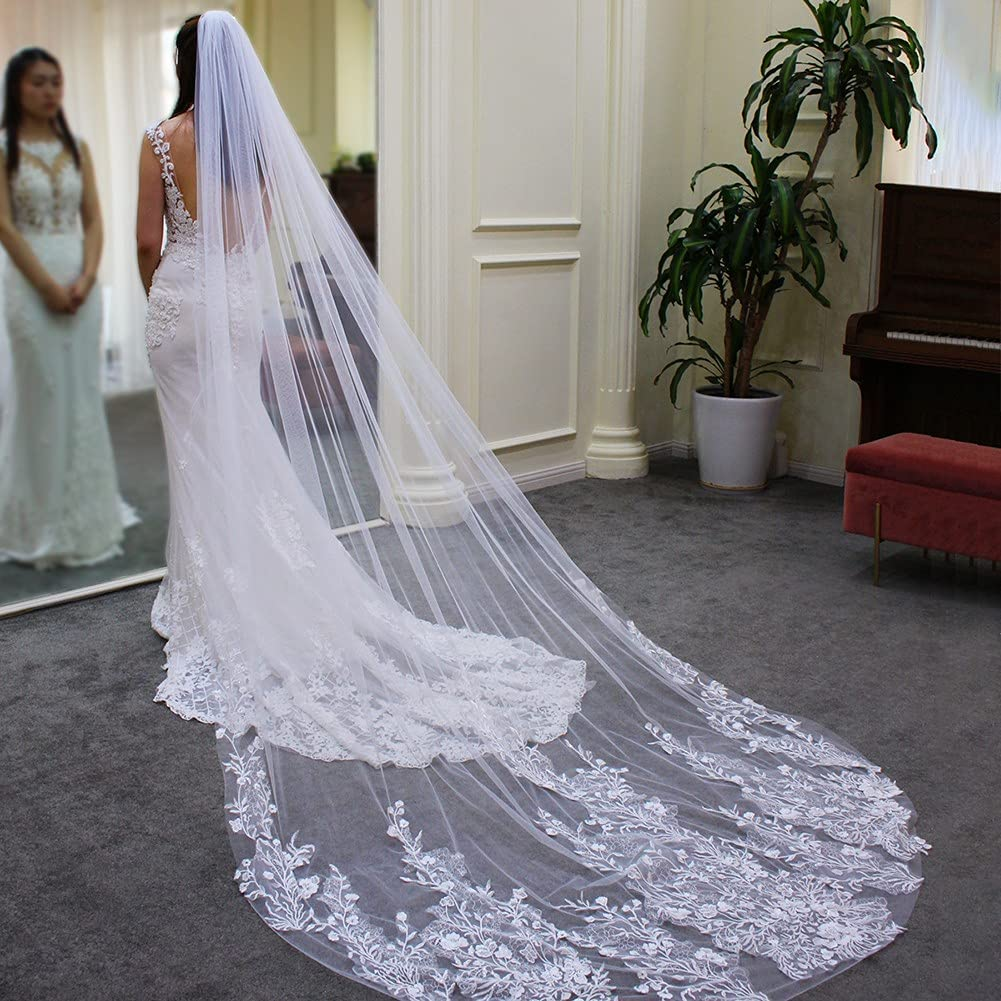 JZJZ Wedding Veils Cathedral Veil for Trailing Japan's largest assortment Tier Time sale Lace Bride 1