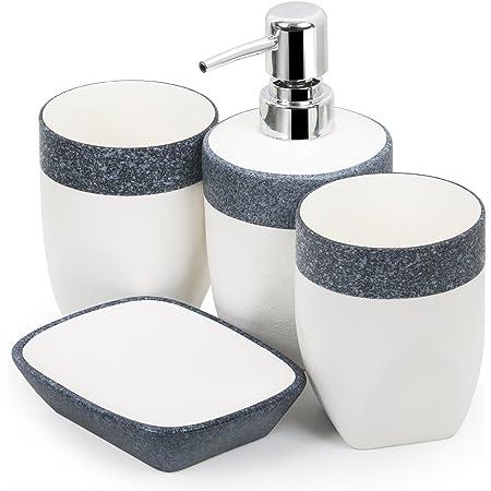 Badezimmer Accessoires aus Dolomit Steingut CLEE Tolles 4 teiliges Badset wundersch/öner moderner Look mit modernen Musterungen Modell Crystal in rein Weiss