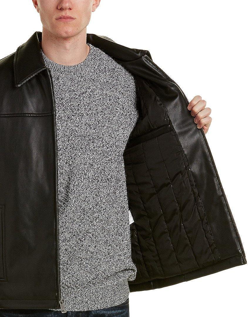 Cole Haan Men's Faux-Leather Jacket, Black, LG