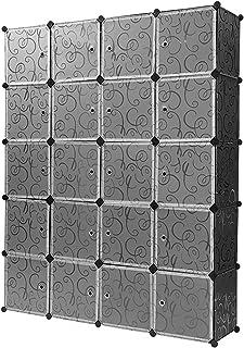 YEEWA Cube Rangement Organisateur 20 Cube DIY en Plastique Penderie Placard Étagères Modulaires Bibliothèque Penderie Plac...