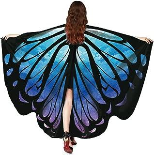 Huhu833 Schmetterling Kostüm, Damen Schmetterling Flügel Umhang Schal Poncho Kostüm Zubehör für Show/Daily/Party