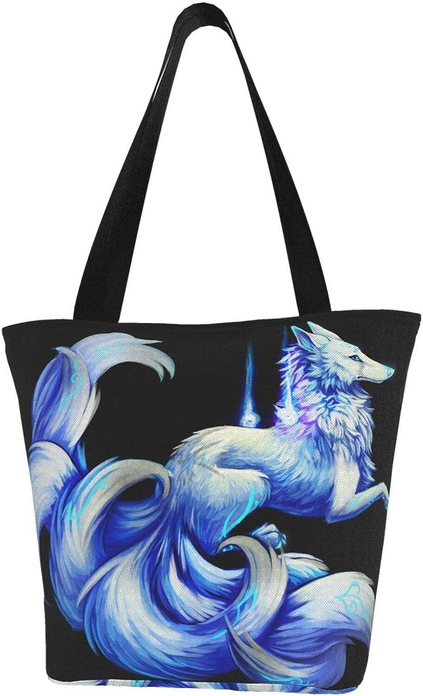Nine-Tailed Fox Cool Blue Animal Themed Printed Women Canvas Handbag Zipper Shoulder Bag Work Booksbag Tote Purse Leisure Hobo Bag For Shopping