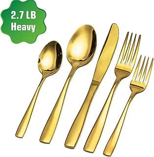 Zonegrace Gold Silverware Set,Mirror Finish 20-Piece Stainless Steel Flatware Cutlery Set,Kitchen Utensil Set Service for 4,Tableware Cutlery Set for Home Restaurant Wedding,Dishwasher Safe