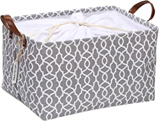 Sea Team Moroccan Lattice Pattern Storage Basket Collapsible Storage Bin with Drawstring Cover and PU Leather Handles, 16.5 by 11.8 inches, Waterproof Inner (Medium, Geometric Pattern/Cool Grey)